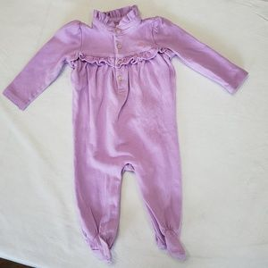 Ralph Lauren one piece lavender ruffle footie